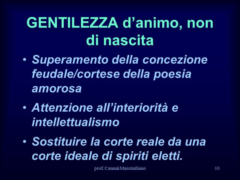 prof. Cananà Massimiliano10 GENTILEZZA d'animo, non di nascita Superamento della concezione feudale/cortese della poesia amorosa Attenzione all'interi