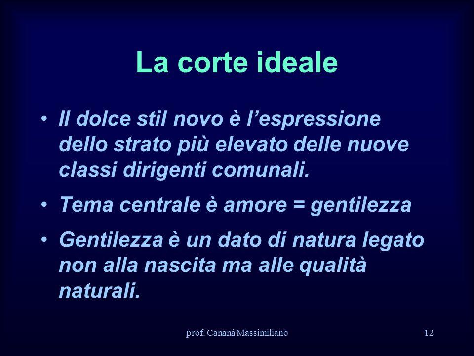 La corte ideale Il dolce stil novo è l'espressione dello strato più elevato delle nuove classi dirigenti comunali.