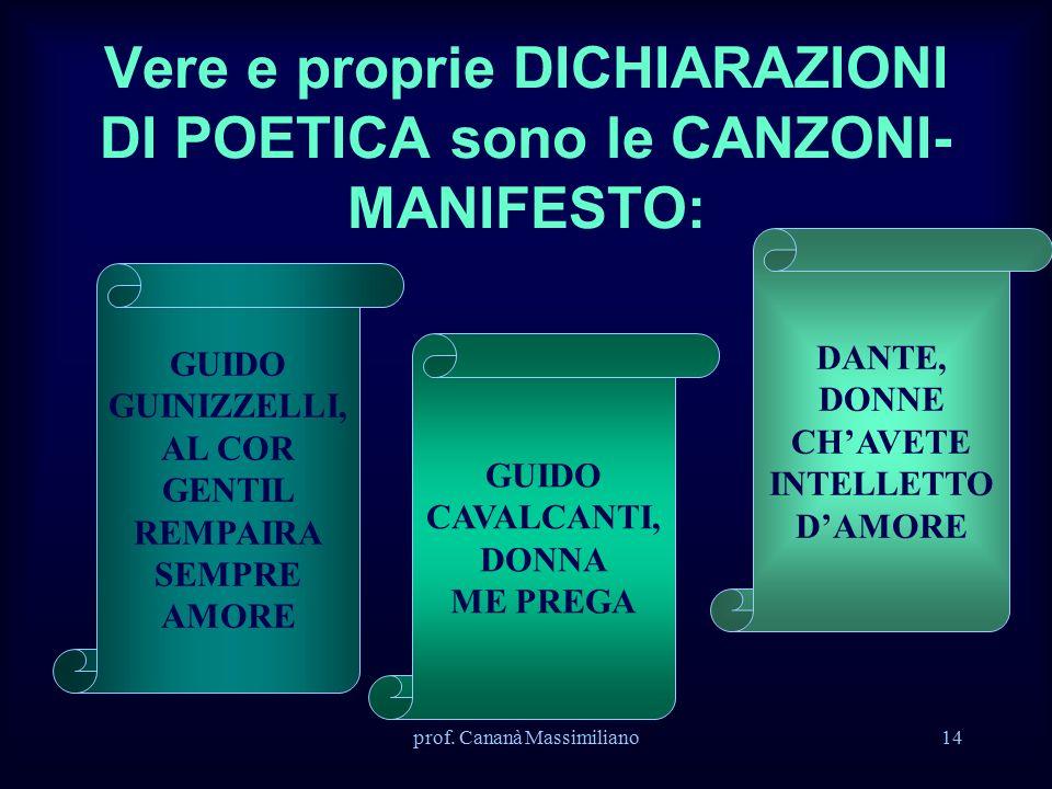 prof. Cananà Massimiliano14 Vere e proprie DICHIARAZIONI DI POETICA sono le CANZONI- MANIFESTO: GUIDO GUINIZZELLI, AL COR GENTIL REMPAIRA SEMPRE AMORE