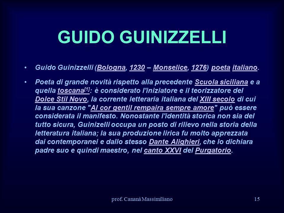 GUIDO GUINIZZELLI Guido Guinizzelli (Bologna, 1230 – Monselice, 1276) poeta italiano.Bologna1230Monselice1276poetaitaliano Poeta di grande novità risp