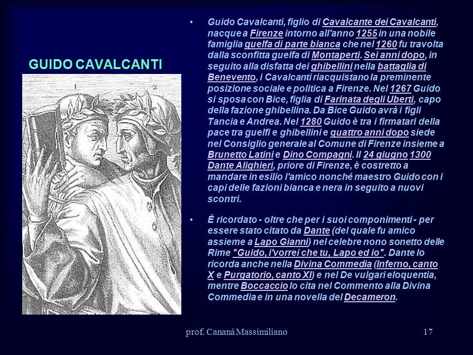 GUIDO CAVALCANTI Guido Cavalcanti, figlio di Cavalcante dei Cavalcanti, nacque a Firenze intorno all anno 1255 in una nobile famiglia guelfa di parte bianca che nel 1260 fu travolta dalla sconfitta guelfa di Montaperti.