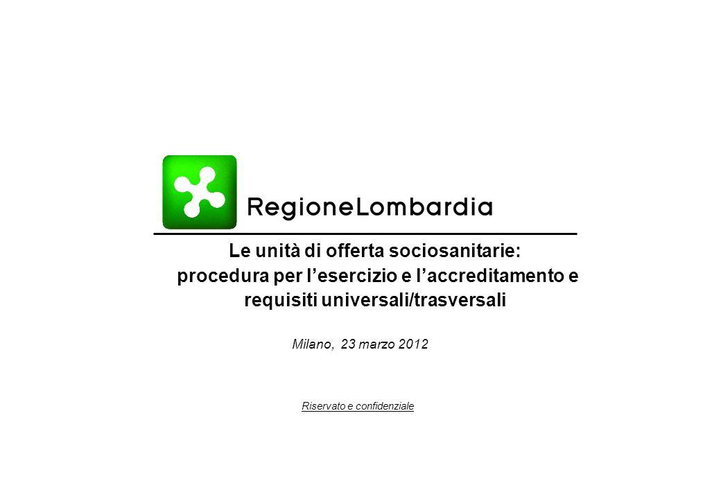 Riservato e confidenziale Milano, 23 marzo 2012 Le unità di offerta sociosanitarie: procedura per l'esercizio e l'accreditamento e requisiti universali/trasversali