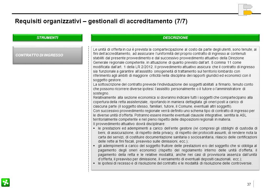 37 Requisiti organizzativi – gestionali di accreditamento (7/7) STRUMENTI DESCRIZIONE Le unità di offerta in cui è prevista la compartecipazione al costo da parte degli utenti, sono tenute, ai fini dell'accreditamento, ad assicurare l'uniformità del proprio contratto di ingresso ai contenuti stabiliti dal presente provvedimento e dal successivo provvedimento attuativo della Direzione Generale regionale competente, in attuazione di quanto previsto dall'art.