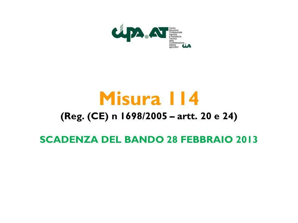 Misura 114 (Reg. (CE) n 1698/2005 – artt. 20 e 24) SCADENZA DEL BANDO 28 FEBBRAIO 2013