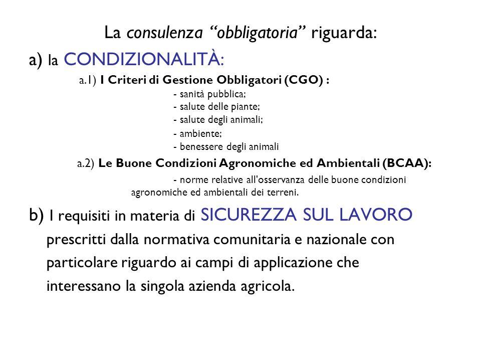 La consulenza obbligatoria riguarda: a) la CONDIZIONALITÀ: a.1) I Criteri di Gestione Obbligatori (CGO) : - sanità pubblica; - salute delle piante; - salute degli animali; - ambiente; - benessere degli animali a.2) Le Buone Condizioni Agronomiche ed Ambientali (BCAA): - norme relative all osservanza delle buone condizioni agronomiche ed ambientali dei terreni.