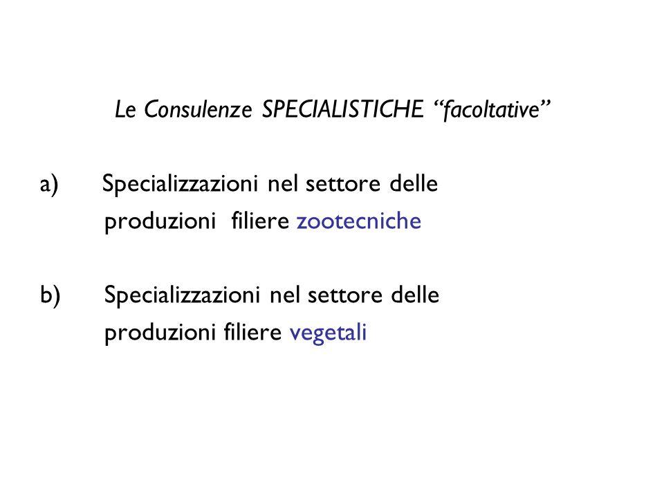 Le Consulenze SPECIALISTICHE facoltative a) Specializzazioni nel settore delle produzioni filiere zootecniche b) Specializzazioni nel settore delle produzioni filiere vegetali