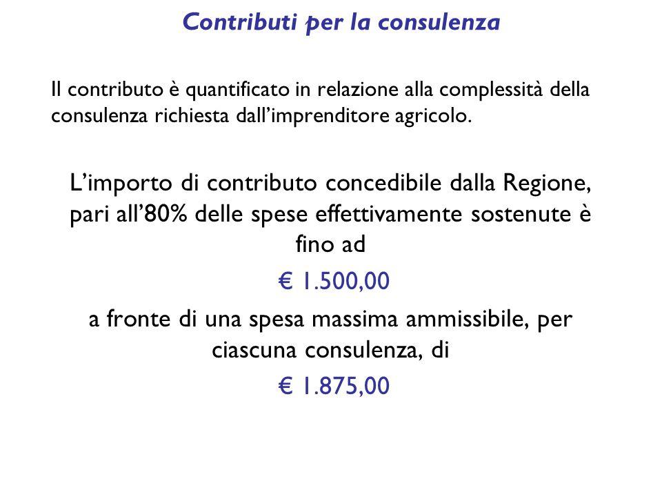Contributi per la consulenza Il contributo è quantificato in relazione alla complessità della consulenza richiesta dall'imprenditore agricolo.