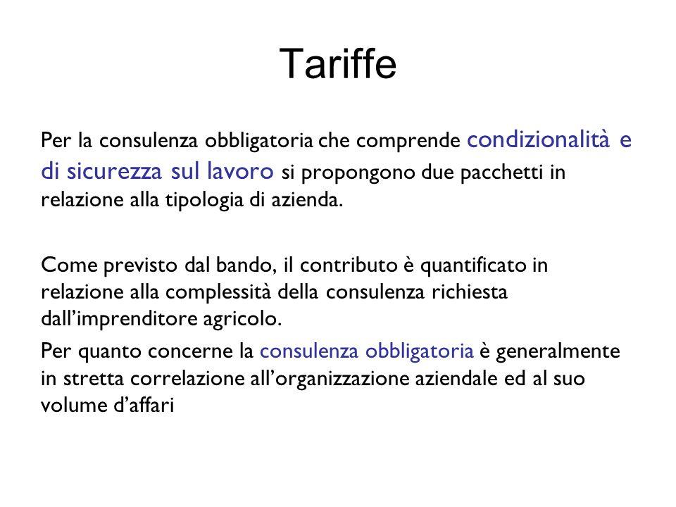 Tariffe Per la consulenza obbligatoria che comprende condizionalità e di sicurezza sul lavoro si propongono due pacchetti in relazione alla tipologia di azienda.