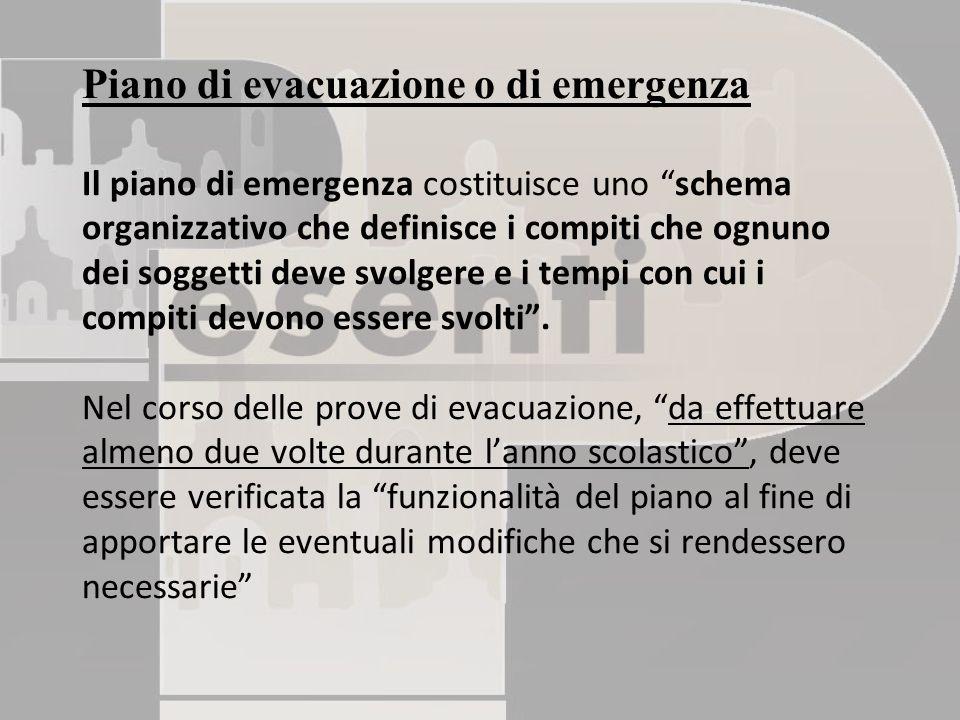 Piano di evacuazione o di emergenza Il piano di emergenza costituisce uno schema organizzativo che definisce i compiti che ognuno dei soggetti deve svolgere e i tempi con cui i compiti devono essere svolti .