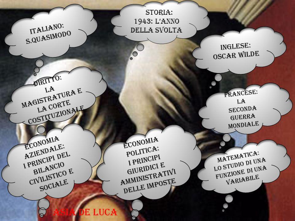 Italiano: s.quasimodo Francese: la Seconda guerra mondiale Inglese: Oscar wilde Storia: 1943: l'anno della svolta Diritto: La magistratura e la corte