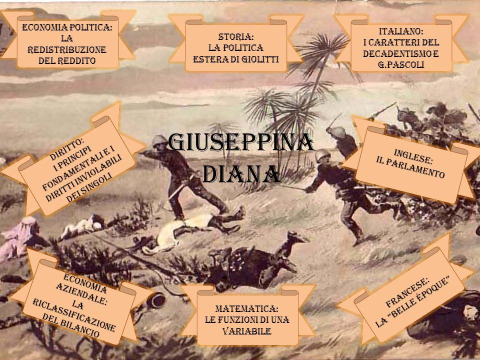 ECONOMIA POLITICA: LA REDISTRIBUZIONE DEL REDDITO MATEMATICA: LE FUNZIONI di UNA VARIABILE INGLESE: Il parlamento ITALIANO: i CARATTERI DEL DECADENTIS