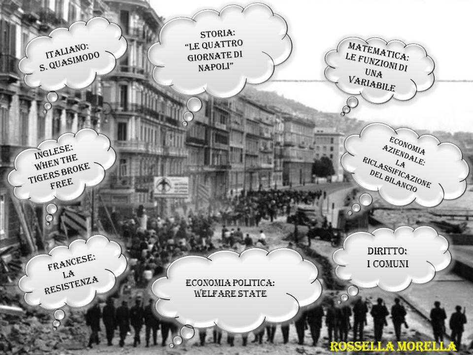 ITALIANO: S. QUASIMODO ITALIANO: S. QUASIMODO DIRITTO: I COMUNI DIRITTO: I COMUNI ECONOMIA POLITICA: WELFARE STATE ECONOMIA POLITICA: WELFARE STATE IN