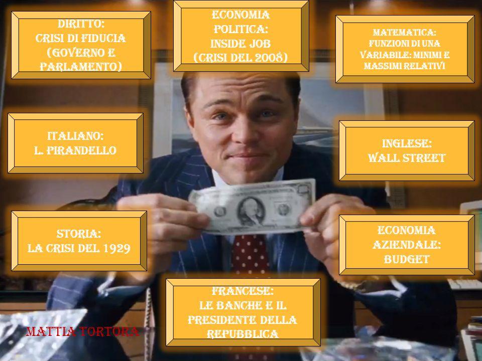 Italiano: l. pirandello Italiano: l. pirandello Economia politica: Inside job (Crisi del 2008) Economia politica: Inside job (Crisi del 2008) Storia: