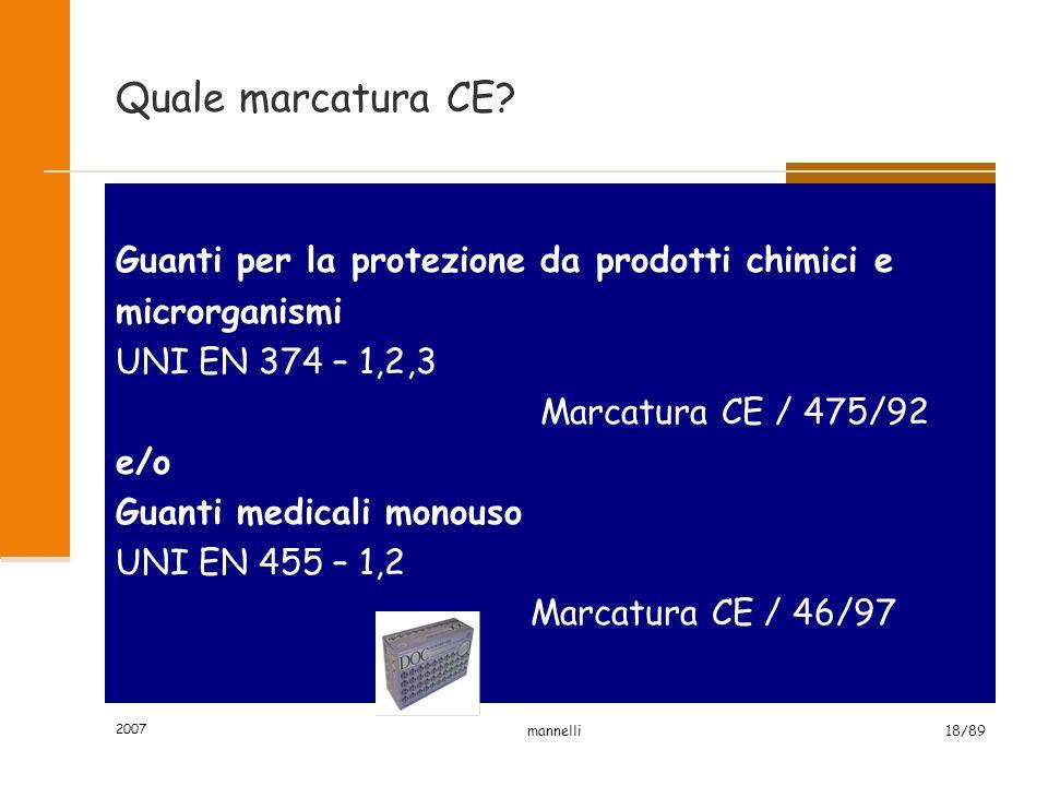 2007 mannelli18/89 Quale marcatura CE.