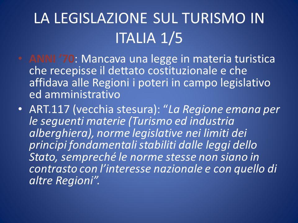 LA LEGISLAZIONE SUL TURISMO IN ITALIA 1/5 ANNI '70: Mancava una legge in materia turistica che recepisse il dettato costituzionale e che affidava alle