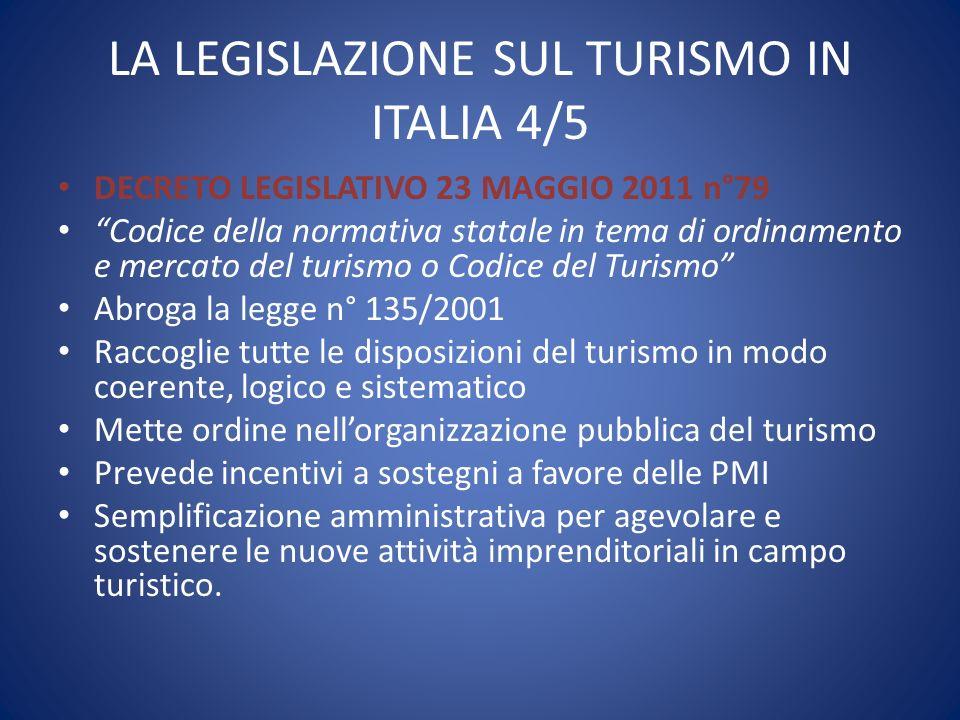 """LA LEGISLAZIONE SUL TURISMO IN ITALIA 4/5 DECRETO LEGISLATIVO 23 MAGGIO 2011 n°79 """"Codice della normativa statale in tema di ordinamento e mercato del"""