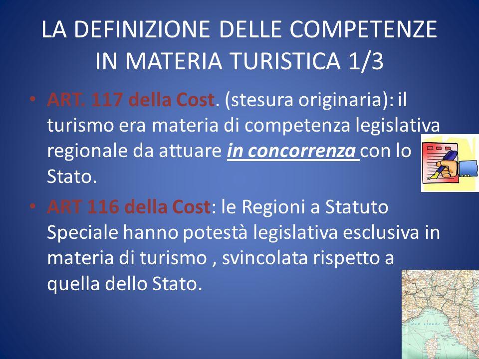 LA DEFINIZIONE DELLE COMPETENZE IN MATERIA TURISTICA 1/3 ART. 117 della Cost. (stesura originaria): il turismo era materia di competenza legislativa r