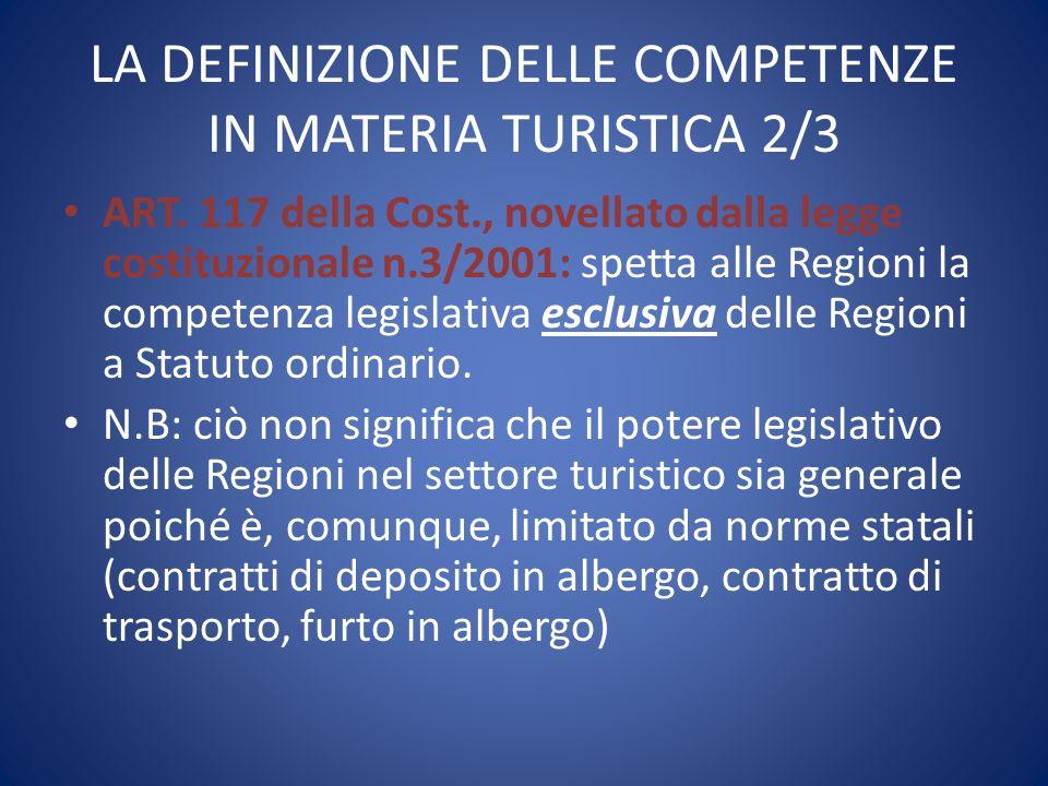 LA DEFINIZIONE DELLE COMPETENZE IN MATERIA TURISTICA 2/3 ART. 117 della Cost., novellato dalla legge costituzionale n.3/2001: spetta alle Regioni la c