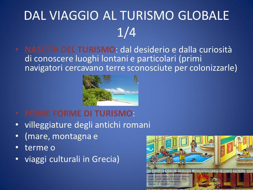 DAL VIAGGIO AL TURISMO GLOBALE 1/4 NASCITA DEL TURISMO: dal desiderio e dalla curiosità di conoscere luoghi lontani e particolari (primi navigatori ce