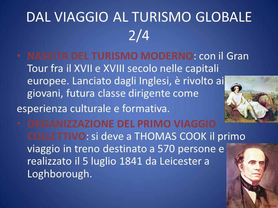 DAL VIAGGIO AL TURISMO GLOBALE 2/4 NASCITA DEL TURISMO MODERNO: con il Gran Tour fra il XVII e XVIII secolo nelle capitali europee. Lanciato dagli Ing