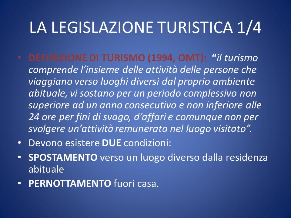 """LA LEGISLAZIONE TURISTICA 1/4 DEFINIZIONE DI TURISMO (1994, OMT): """"il turismo comprende l'insieme delle attività delle persone che viaggiano verso luo"""