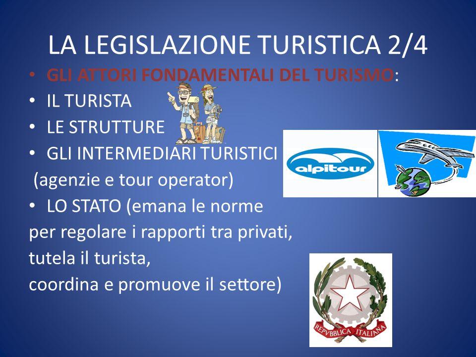 LA LEGISLAZIONE TURISTICA 2/4 GLI ATTORI FONDAMENTALI DEL TURISMO: IL TURISTA LE STRUTTURE GLI INTERMEDIARI TURISTICI (agenzie e tour operator) LO STA