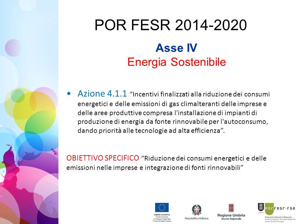 POR FESR 2014-2020 Asse IV Energia Sostenibile Azione 4.1.1 Incentivi finalizzati alla riduzione dei consumi energetici e delle emissioni di gas climalteranti delle imprese e delle aree produttive compresa l installazione di impianti di produzione di energia da fonte rinnovabile per l autoconsumo, dando priorità alle tecnologie ad alta efficienza .