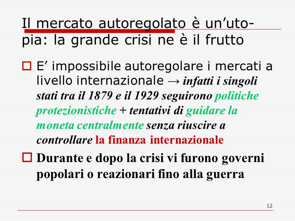 12 Il mercato autoregolato è un'uto- pia: la grande crisi ne è il frutto  E' impossibile autoregolare i mercati a livello internazionale → infatti i