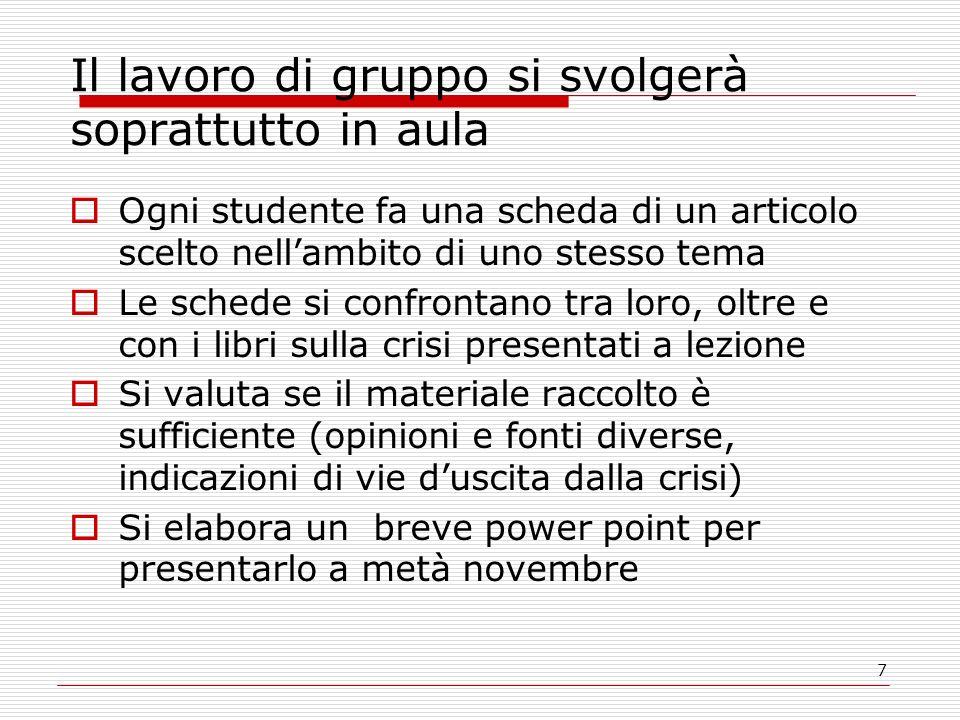 7 Il lavoro di gruppo si svolgerà soprattutto in aula  Ogni studente fa una scheda di un articolo scelto nell'ambito di uno stesso tema  Le schede s