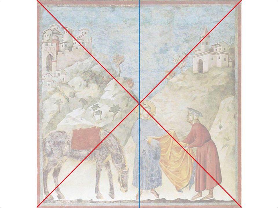 Soggetto: San Francesco rinunzia ai beni paterni Iconografia: il santo è rappresentato con il torace nudo da un lato, dall'altro c'è il padre irato, trattenuto da un uomo.