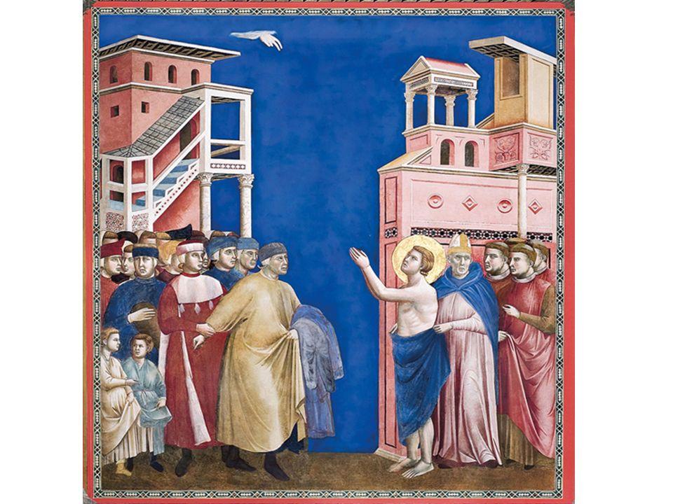 [a] Francesco alza le braccia al cielo lungo una delle diagonali del dipinto…
