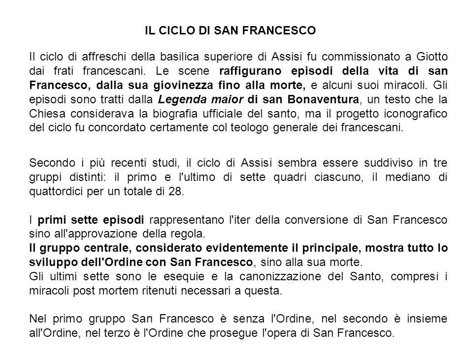 Il ciclo di affreschi della basilica superiore di Assisi fu commissionato a Giotto dai frati francescani.