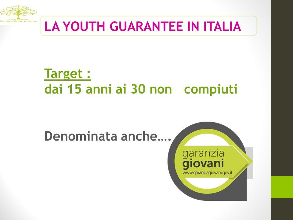 LA YOUTH GUARANTEE IN ITALIA Target : dai 15 anni ai 30 non compiuti Denominata anche….