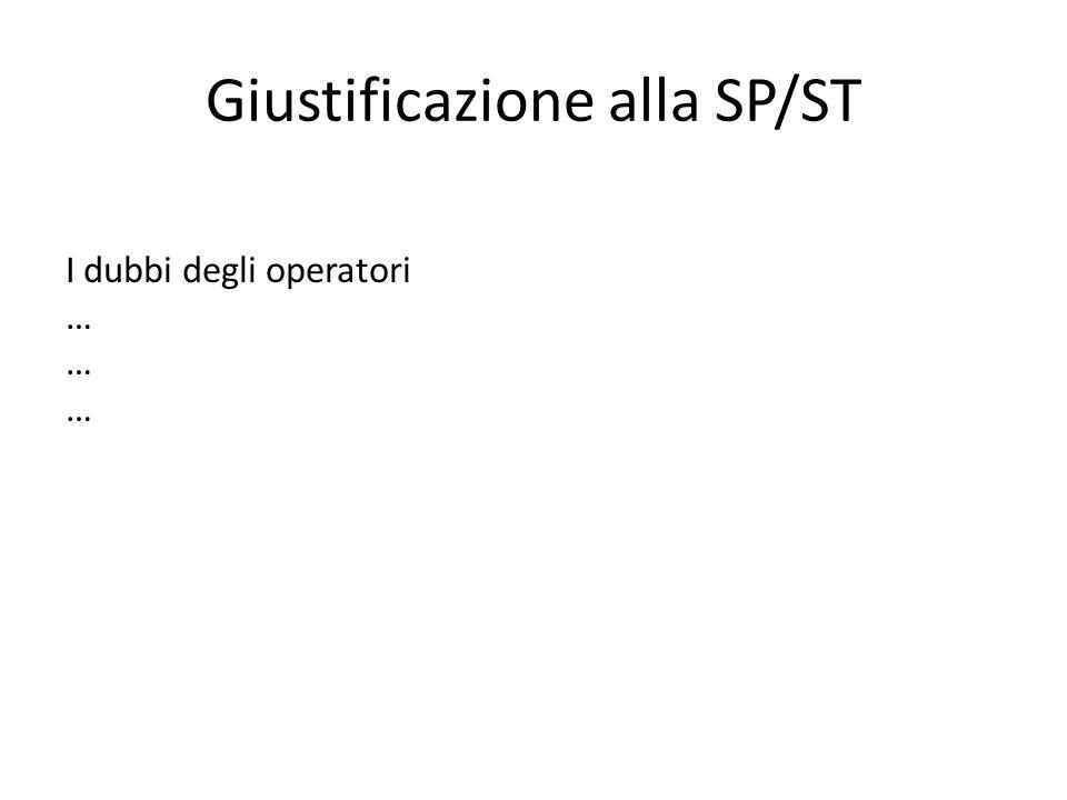 Giustificazione alla SP/ST I dubbi degli operatori …
