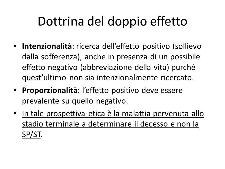Dottrina del doppio effetto Intenzionalità: ricerca dell'effetto positivo (sollievo dalla sofferenza), anche in presenza di un possibile effetto negat