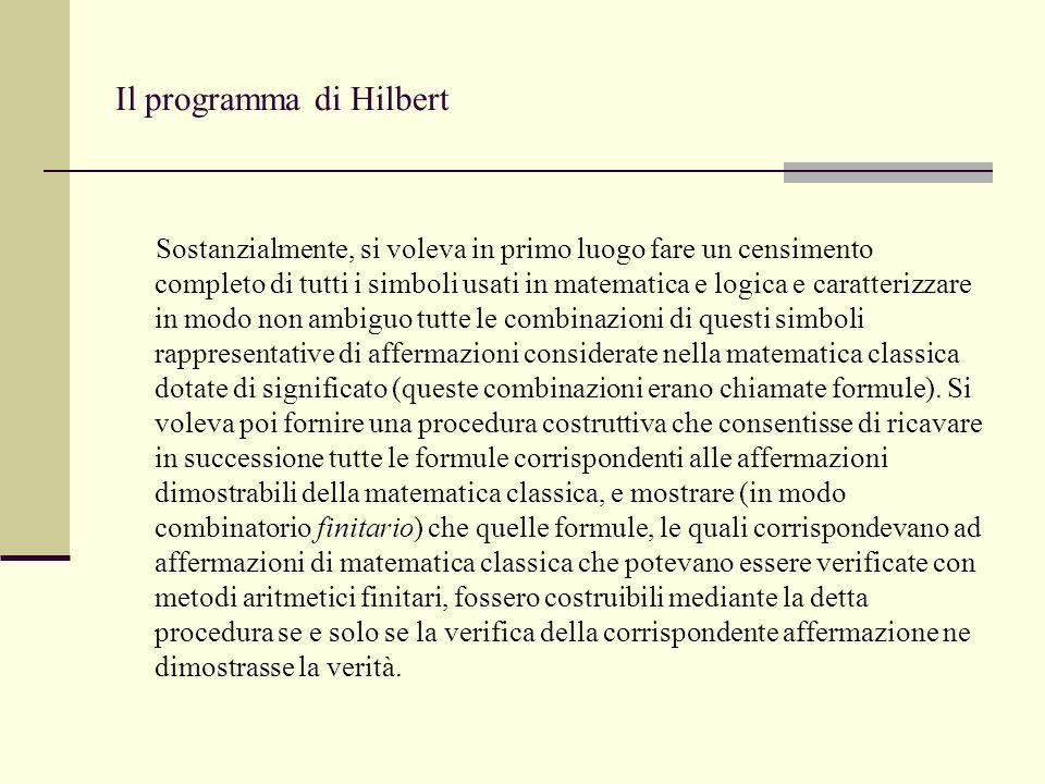 In particolare, al progetto di Hilbert occorreva una dimostrazione (combinatoria finitaria) della coerenza della matematica classica.