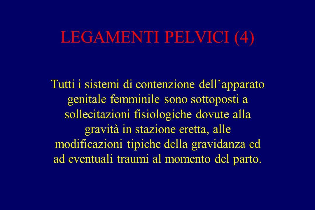LEGAMENTI PELVICI (4) Tutti i sistemi di contenzione dell'apparato genitale femminile sono sottoposti a sollecitazioni fisiologiche dovute alla gravità in stazione eretta, alle modificazioni tipiche della gravidanza ed ad eventuali traumi al momento del parto.