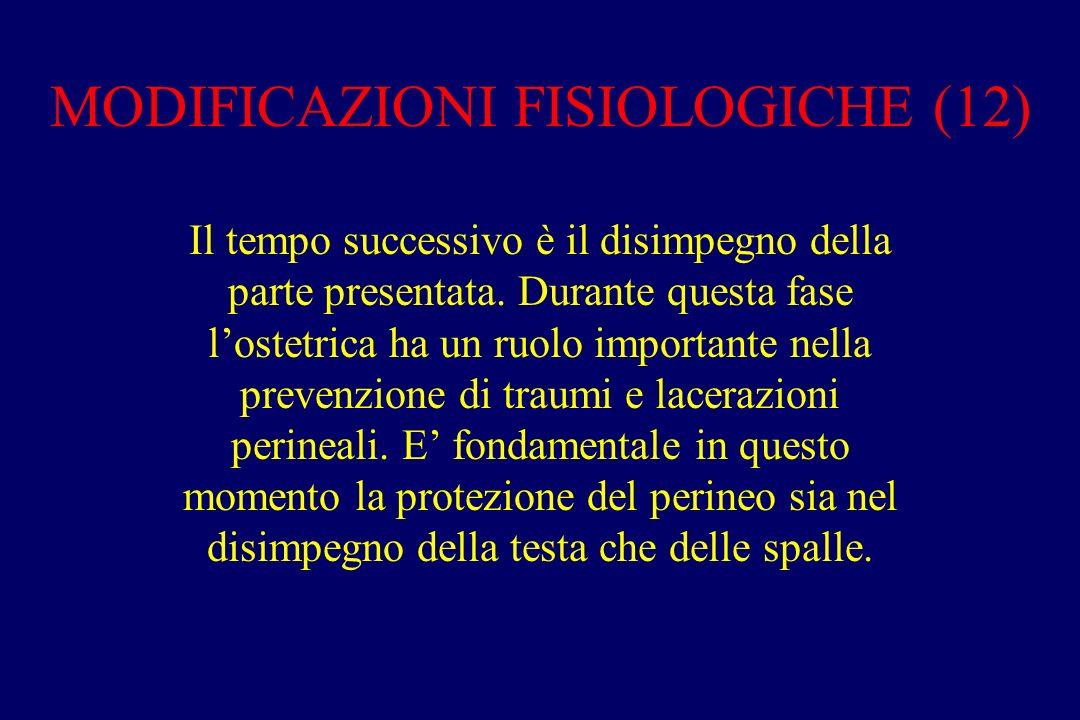 MODIFICAZIONI FISIOLOGICHE (12) Il tempo successivo è il disimpegno della parte presentata. Durante questa fase l'ostetrica ha un ruolo importante nel