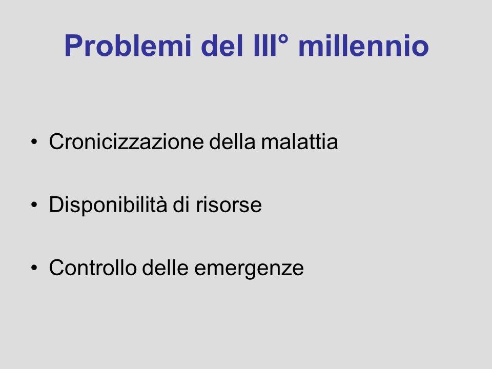 Problemi del III° millennio Cronicizzazione della malattia Disponibilità di risorse Controllo delle emergenze