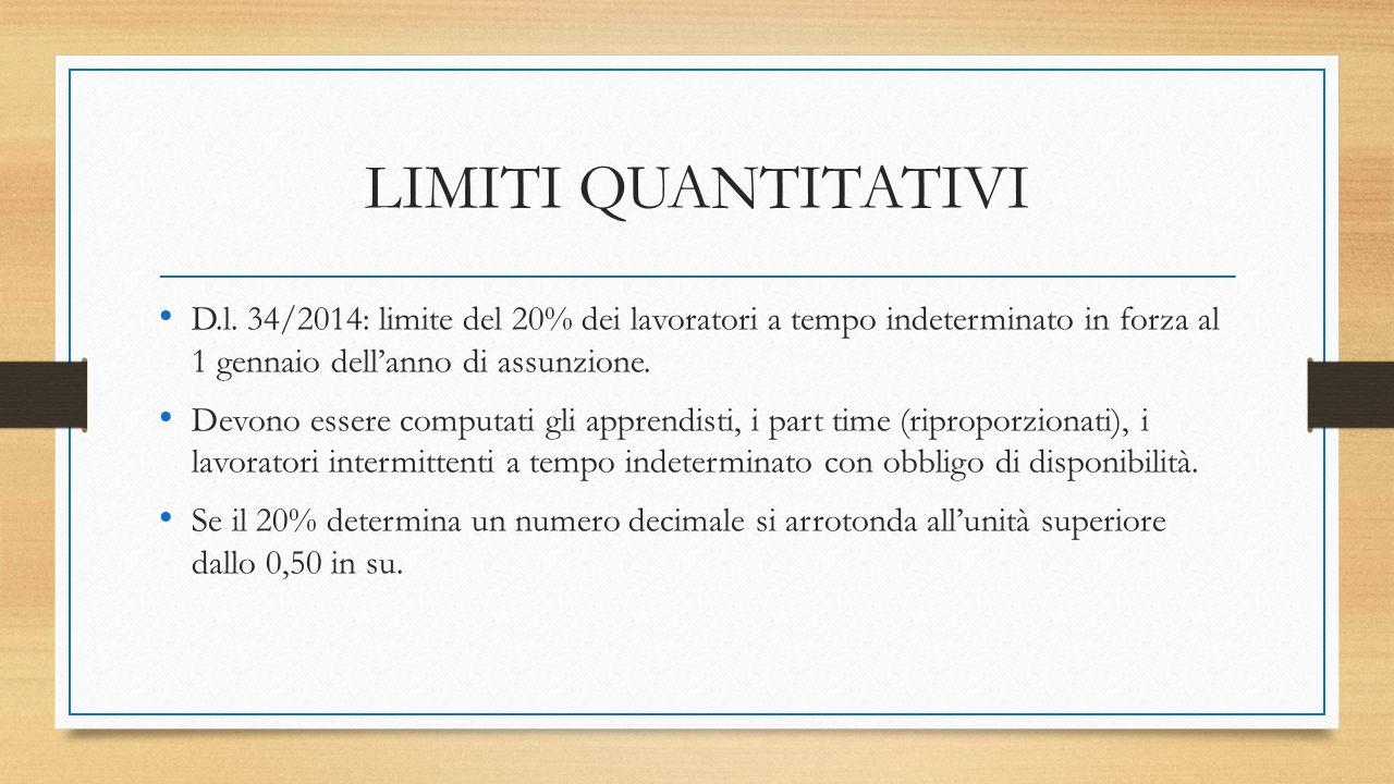 LIMITI QUANTITATIVI D.l. 34/2014: limite del 20% dei lavoratori a tempo indeterminato in forza al 1 gennaio dell'anno di assunzione. Devono essere com
