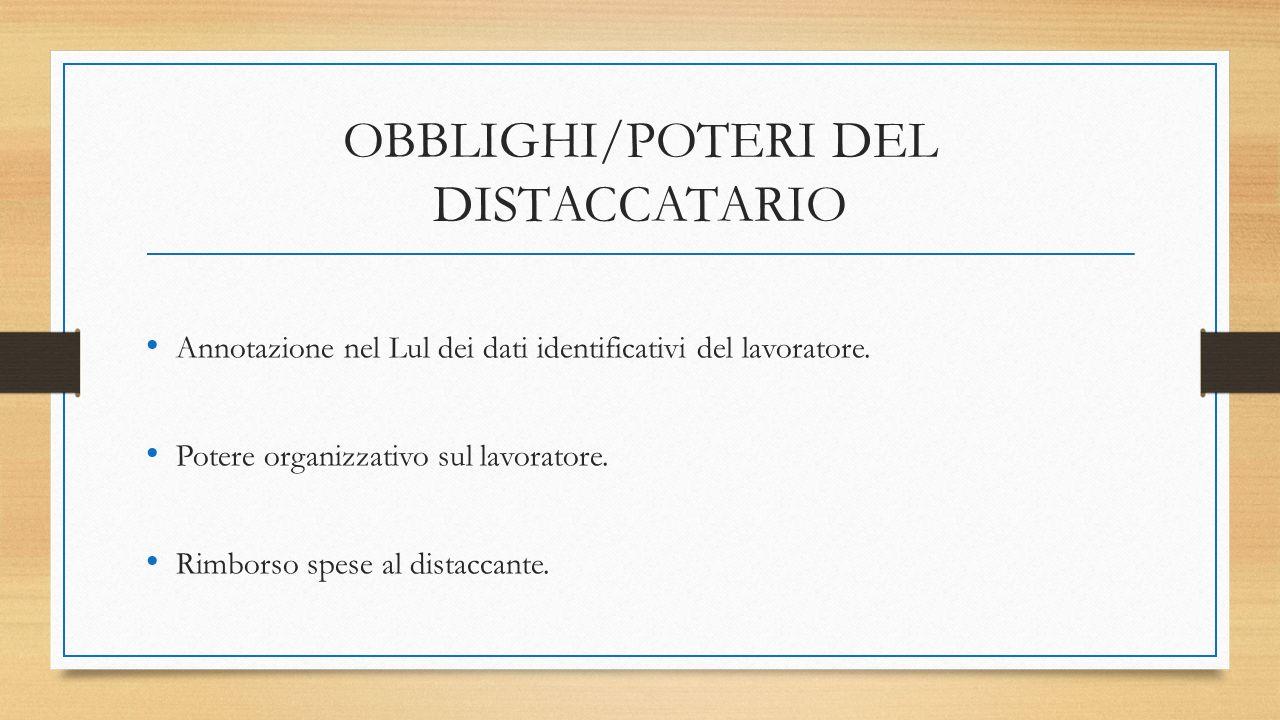 OBBLIGHI/POTERI DEL DISTACCATARIO Annotazione nel Lul dei dati identificativi del lavoratore.