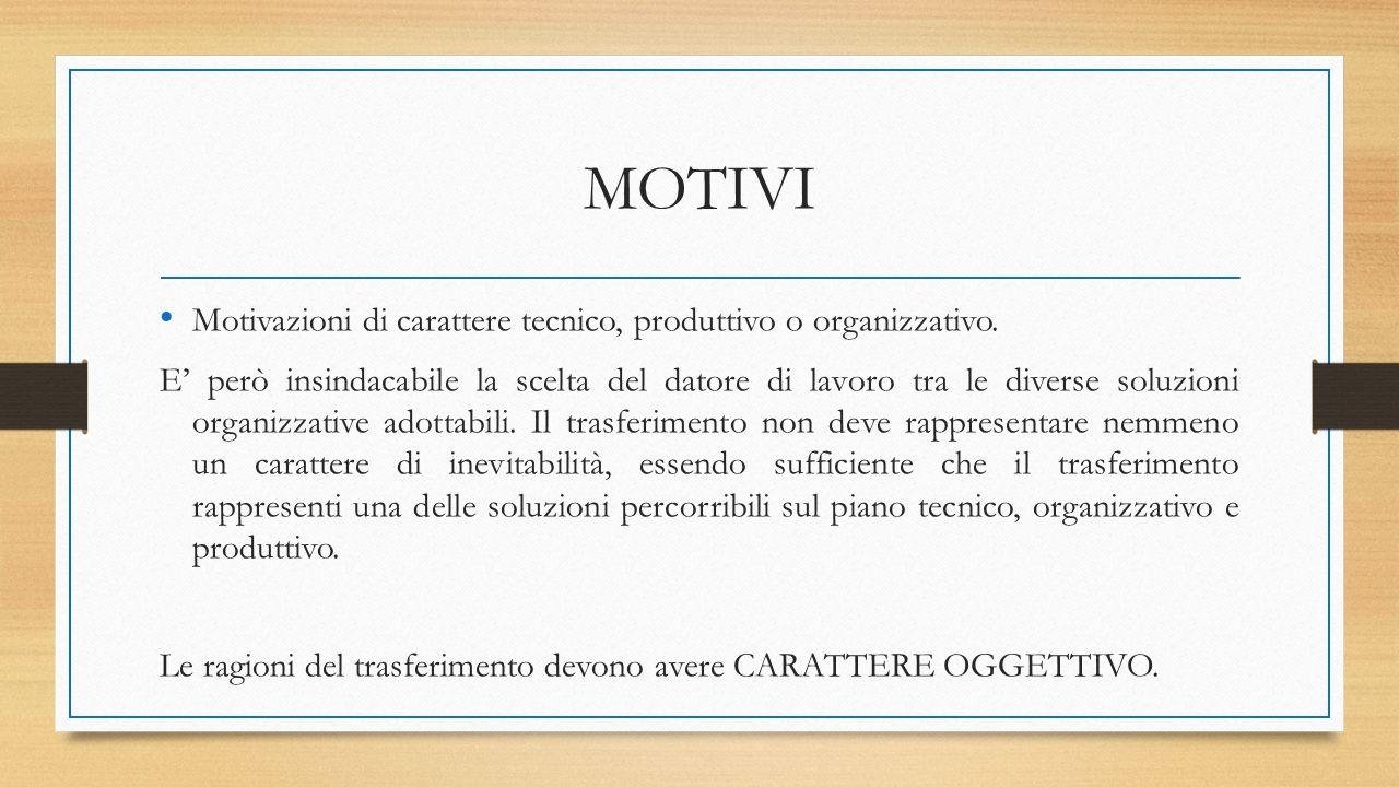 MOTIVI Motivazioni di carattere tecnico, produttivo o organizzativo. E' però insindacabile la scelta del datore di lavoro tra le diverse soluzioni org