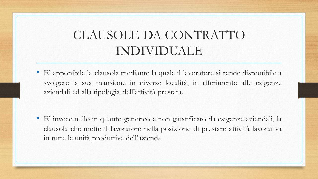CLAUSOLE DA CONTRATTO INDIVIDUALE E' apponibile la clausola mediante la quale il lavoratore si rende disponibile a svolgere la sua mansione in diverse