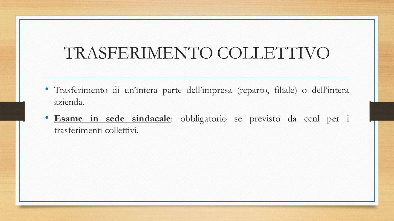 TRASFERIMENTO COLLETTIVO Trasferimento di un'intera parte dell'impresa (reparto, filiale) o dell'intera azienda.