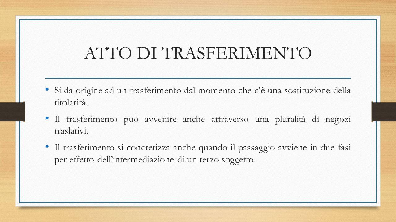 ATTO DI TRASFERIMENTO Si da origine ad un trasferimento dal momento che c'è una sostituzione della titolarità.