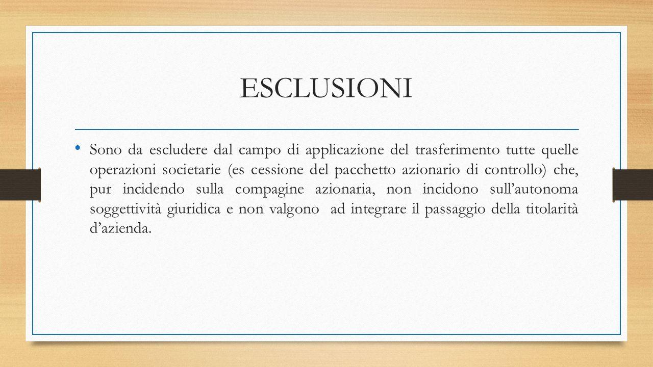 ESCLUSIONI Sono da escludere dal campo di applicazione del trasferimento tutte quelle operazioni societarie (es cessione del pacchetto azionario di co