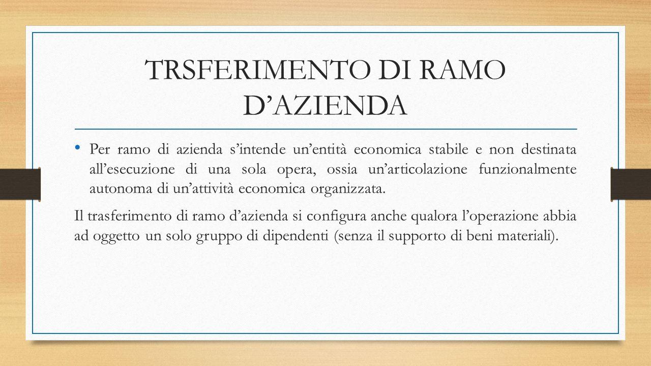 TRSFERIMENTO DI RAMO D'AZIENDA Per ramo di azienda s'intende un'entità economica stabile e non destinata all'esecuzione di una sola opera, ossia un'articolazione funzionalmente autonoma di un'attività economica organizzata.