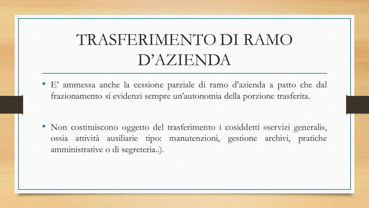 TRASFERIMENTO DI RAMO D'AZIENDA E' ammessa anche la cessione parziale di ramo d'azienda a patto che dal frazionamento si evidenzi sempre un'autonomia