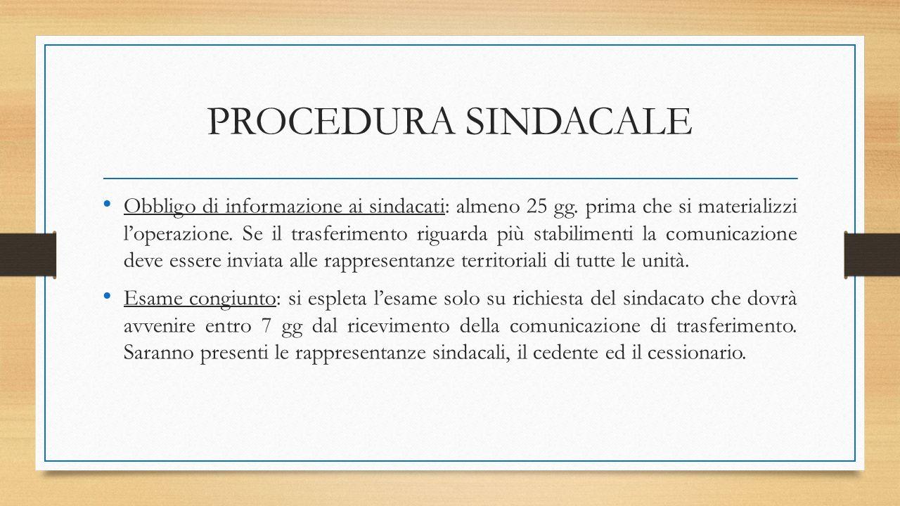 PROCEDURA SINDACALE Obbligo di informazione ai sindacati: almeno 25 gg. prima che si materializzi l'operazione. Se il trasferimento riguarda più stabi