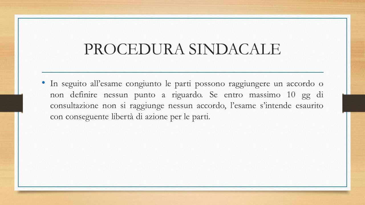 PROCEDURA SINDACALE In seguito all'esame congiunto le parti possono raggiungere un accordo o non definire nessun punto a riguardo. Se entro massimo 10